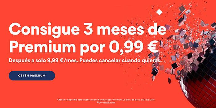 Spotify 3 meses por 1 euro
