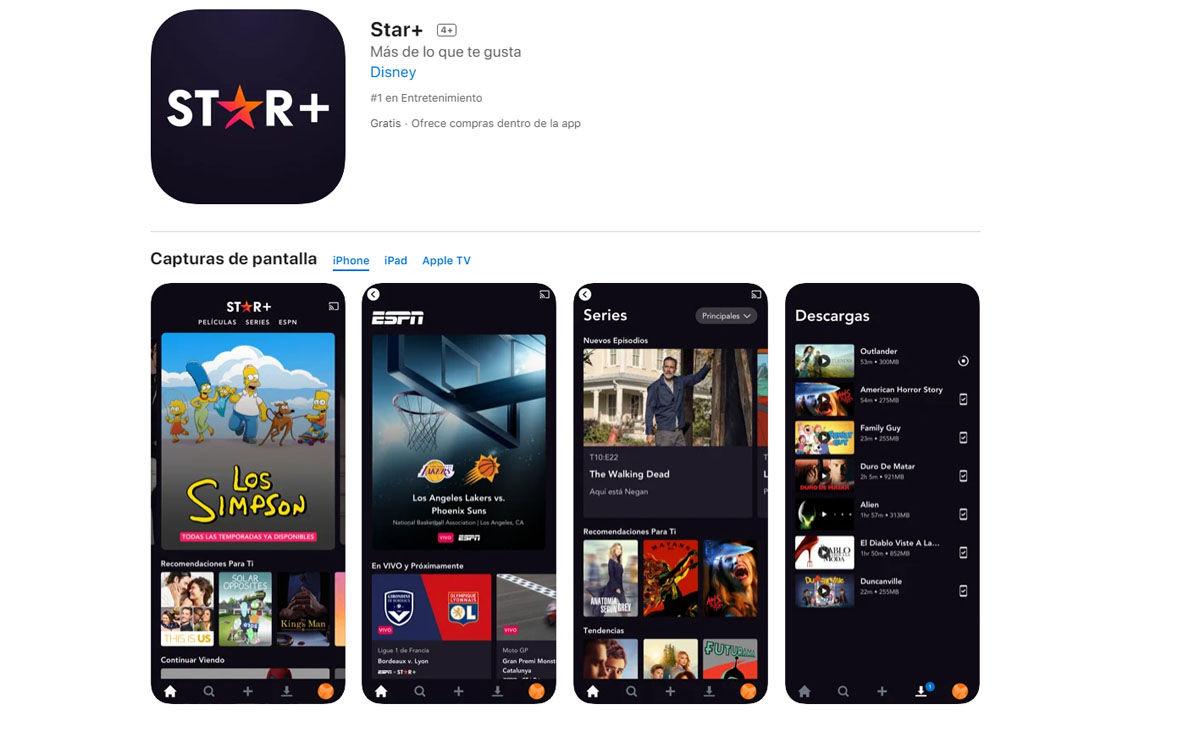 Star Plus también está disponible para descargar en la App Store de Apple en dispositivios iOS