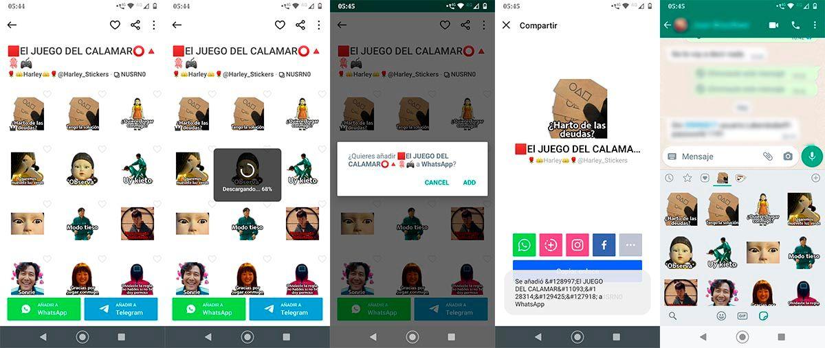 Stickers de El juego del calamar para WhatsApp