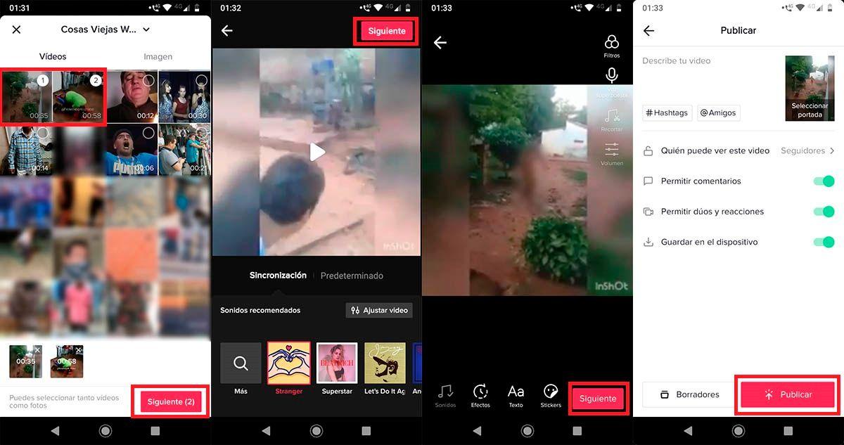 Subir videos y fotos TikTok