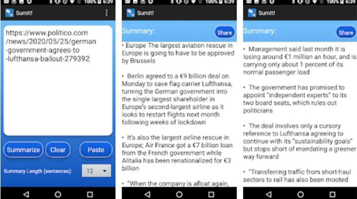 SumIt! app resumir textos móvil