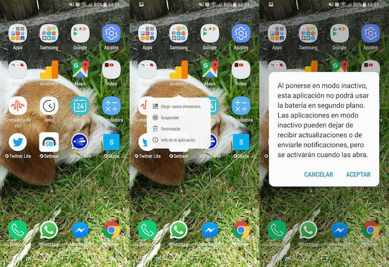 Suspender aplicaciones Galaxy S8