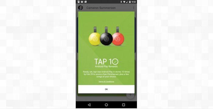 Tap 10 de Android Pay Rewards