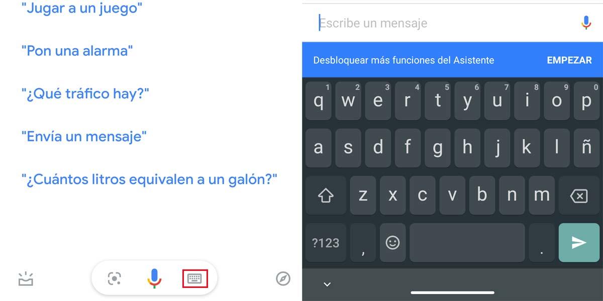 Utilizar el teclado en el asistente de Google