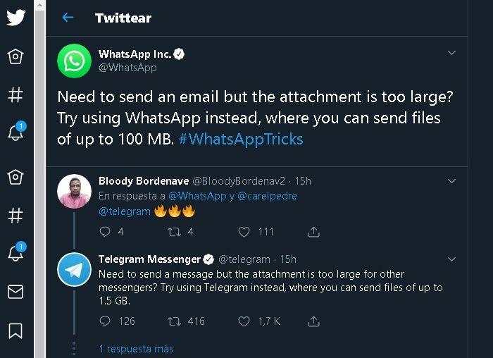 Telegram se rie de Whatsapp limite de transferencia