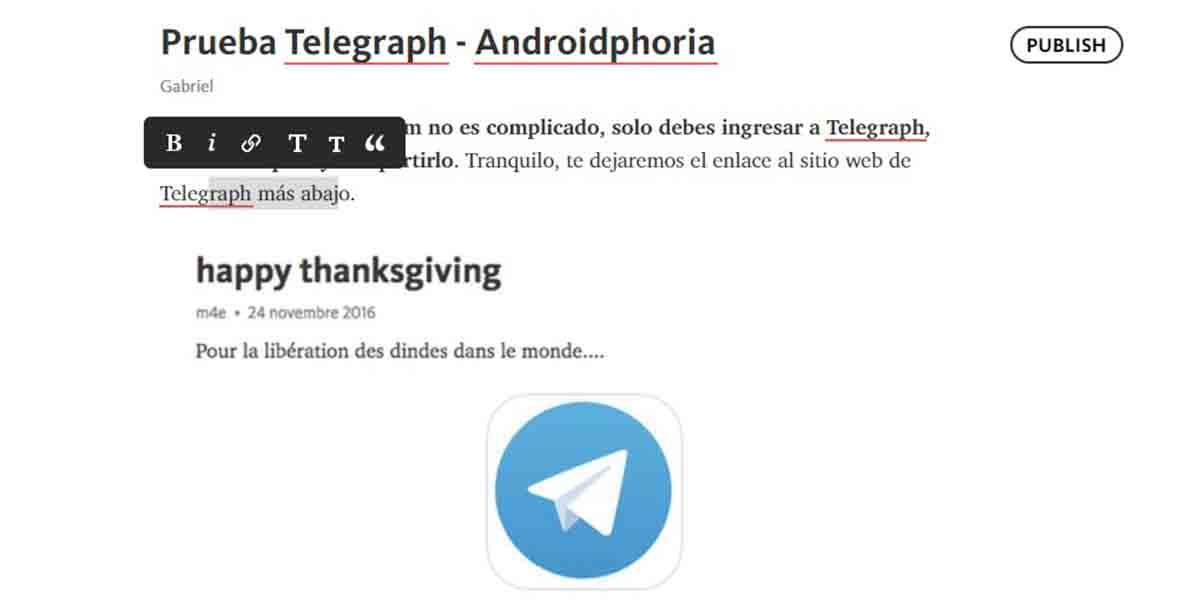 Telegraph convierte Telegram en blog