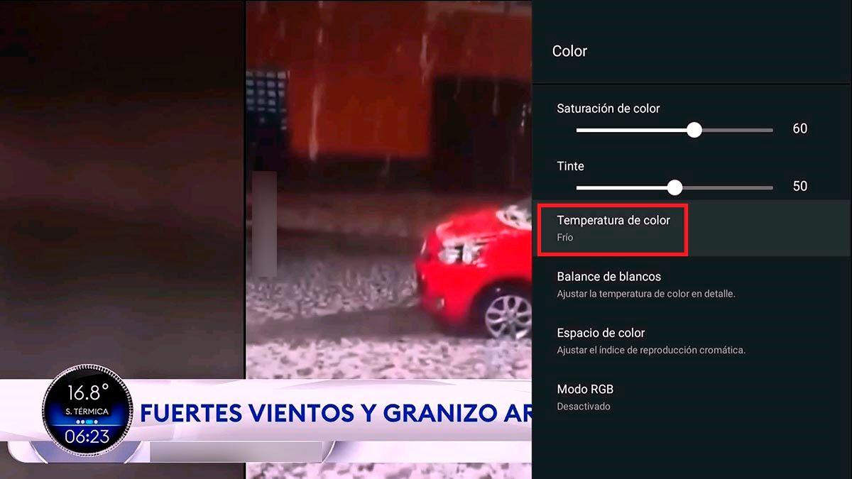 Temperatura de color Android TV TCL