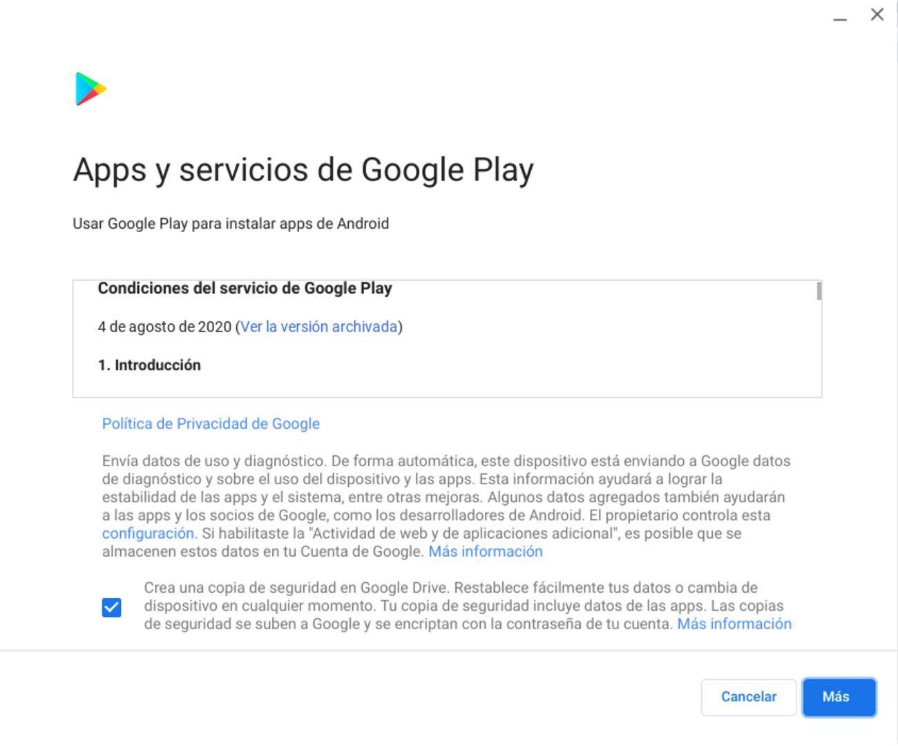 Términos y condiciones de Google Play