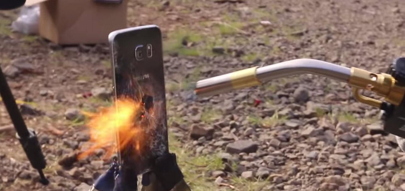 Test de resistencia al fuego Galaxy S6 Edge vs iPhone 6
