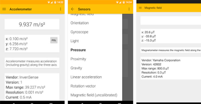 Test de sensores para Android