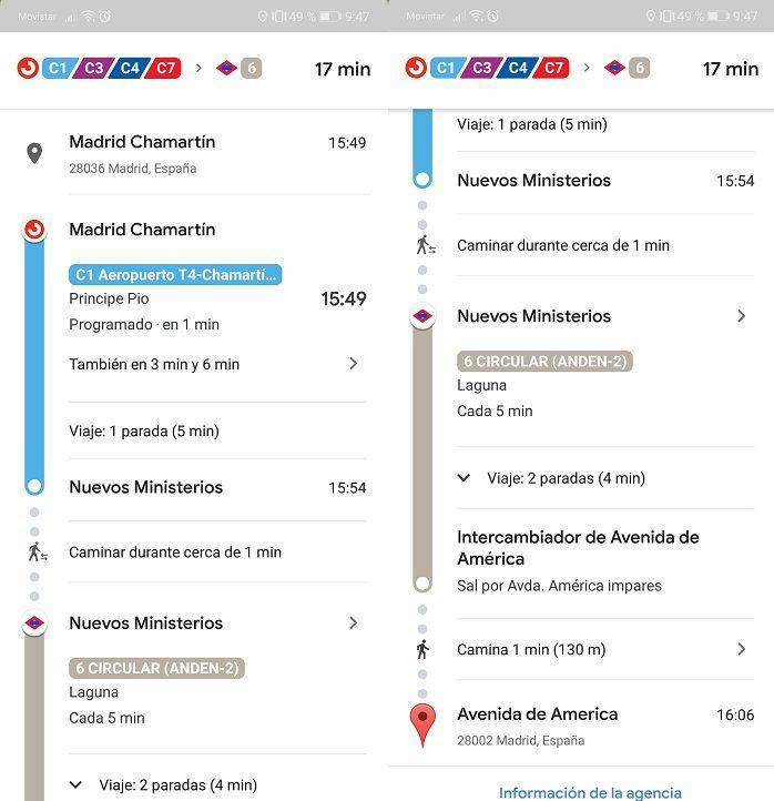 Tiempo estimado Google Maps