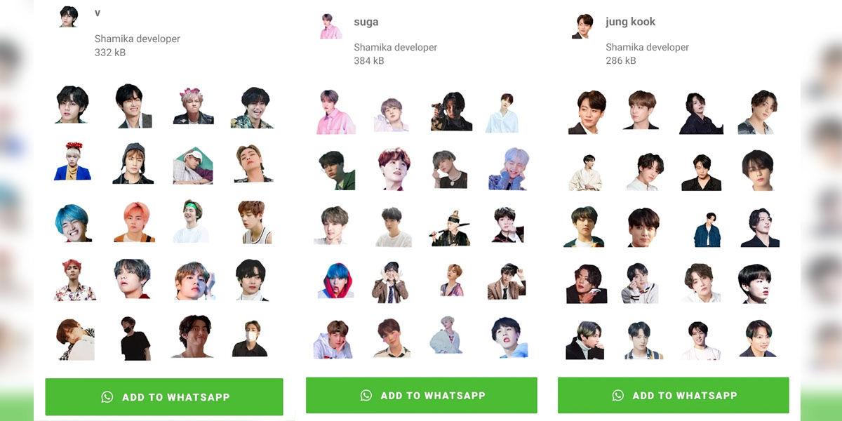 Todas las pegatinas de BTS para el fandom ARMY de Kpop disponibles para descargar en WhatsApp