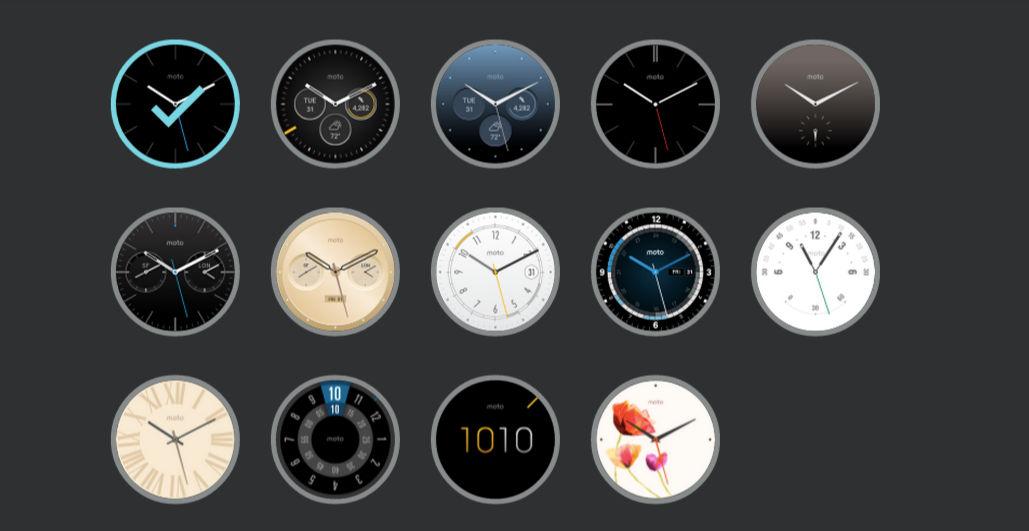 Todos los watchfaces oficiales para Moto 360 2015