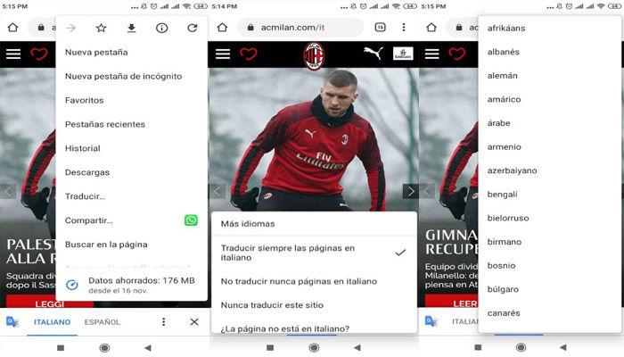 Traducir paginas en Chrome