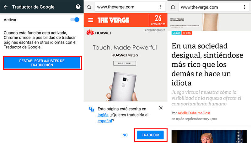 Traducir webs Chrome Android