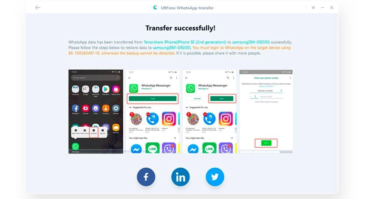 Transferencia de Whatsapp de Ultfone - paso 3