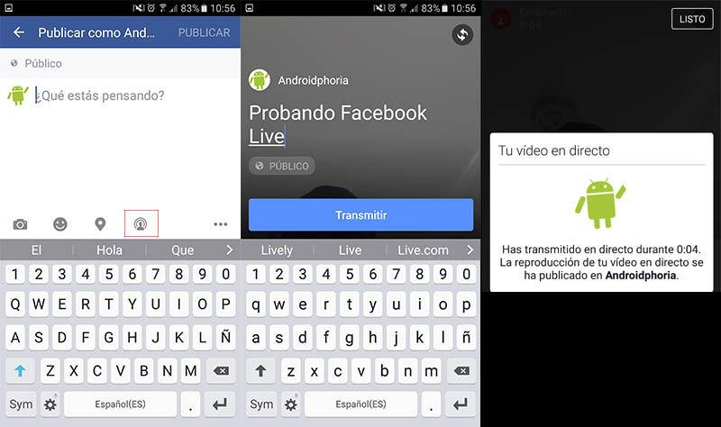 Transmitir en directo Facebook Android
