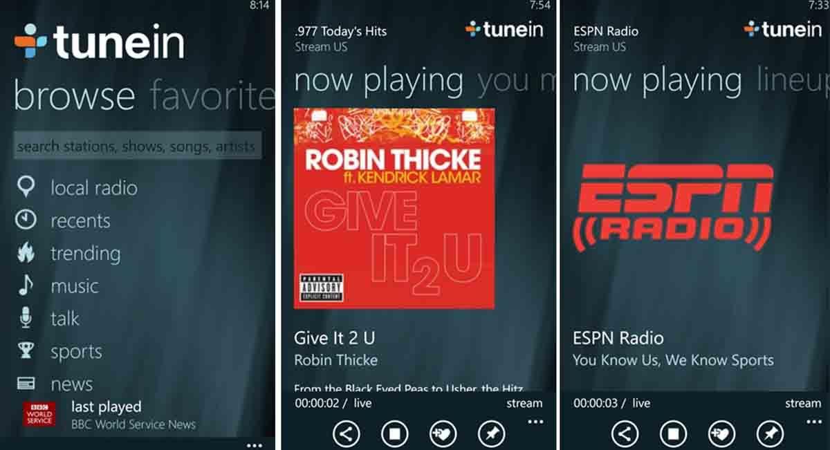 TuneIn Radio app modo conducción