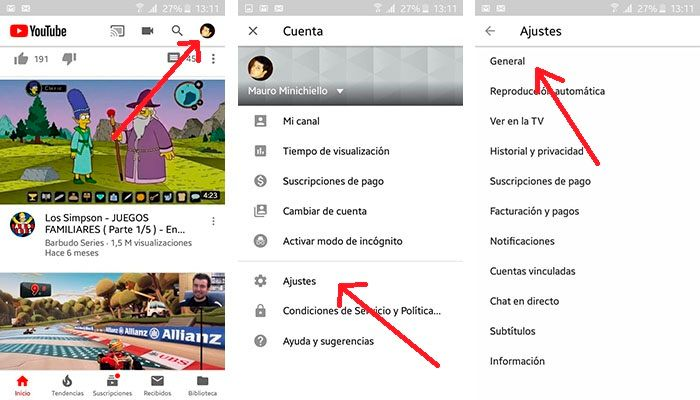 Tutorial activar modo oscuro Youtube Android