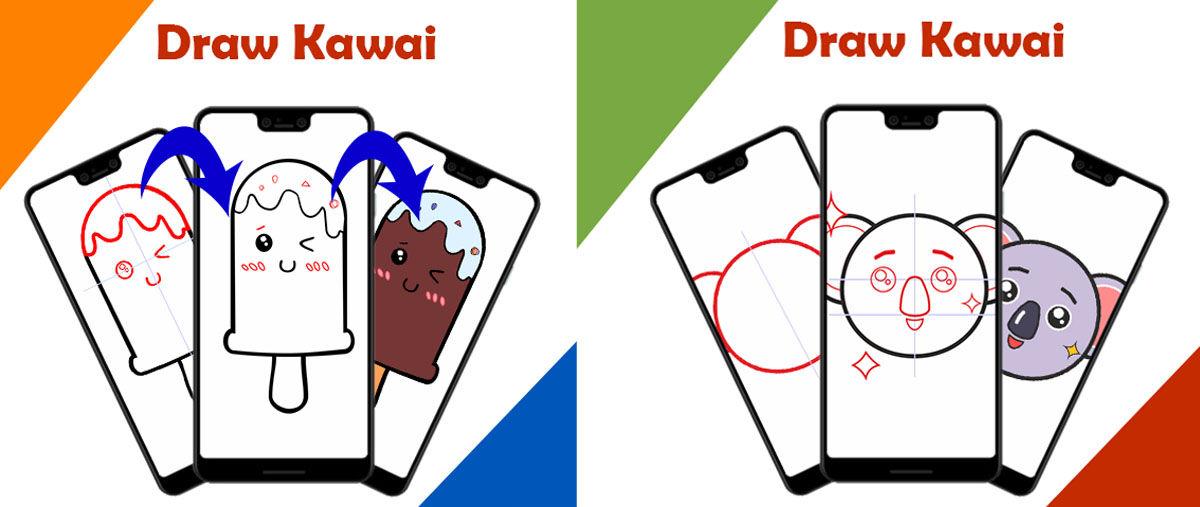 Tutoriales para dibujar en estilo adorable japonés Kawaii paso por paso