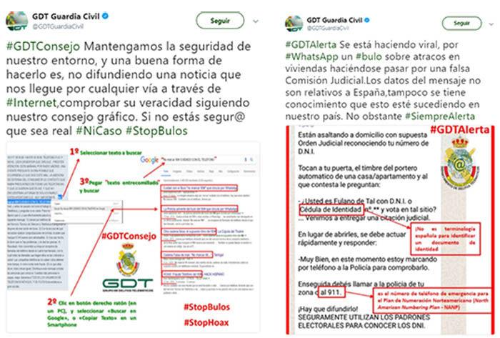 Tweets de la Guardia Civil respecto al bulo de whatsApp