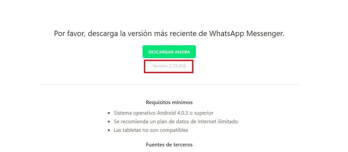 Ultima version de WhatsApp Android