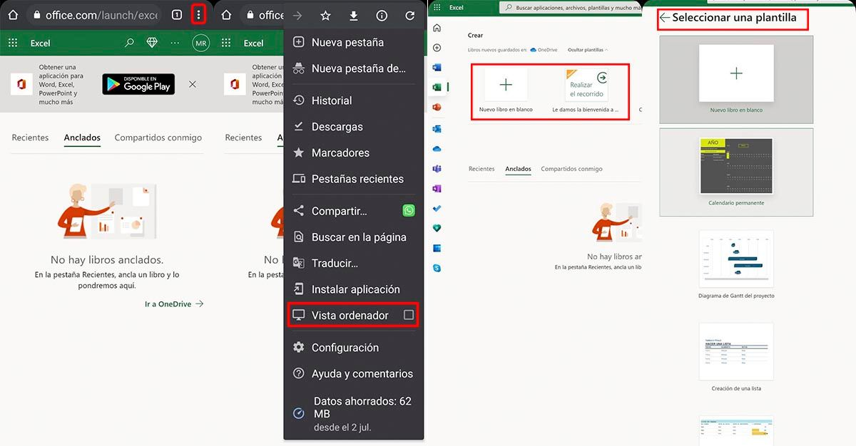 Usar Excel online Android