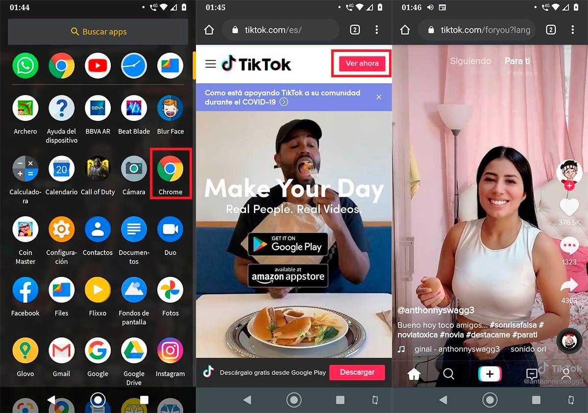 Usar TikTok sin la app
