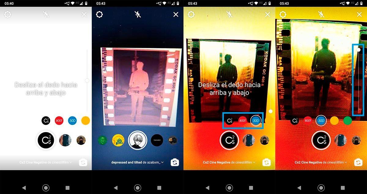 Usar filtro para revelar negativos de fotos en Instagram