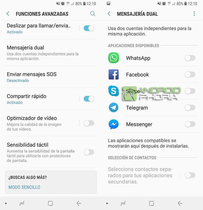 Usar mensajería dual Samsung dual sim