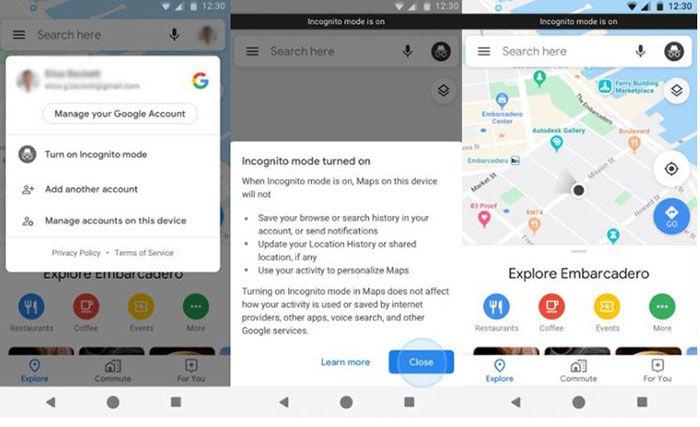 Usar modo incognito Google Maps