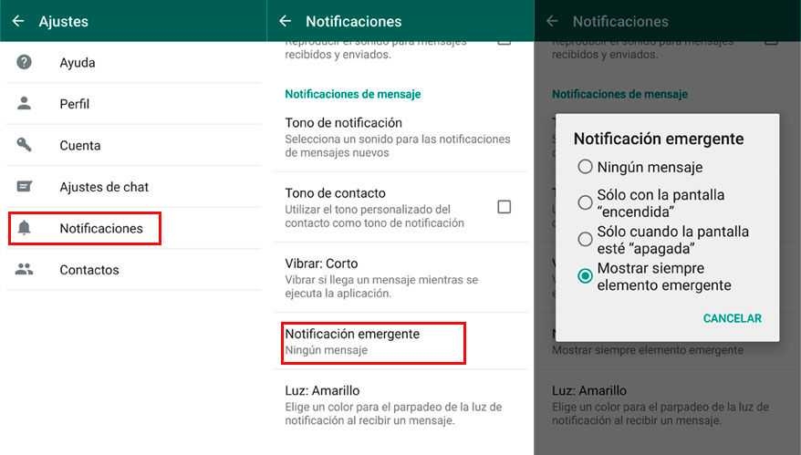 Usar notificaciones emergentes para burlar el doble check azul de WhatsApp