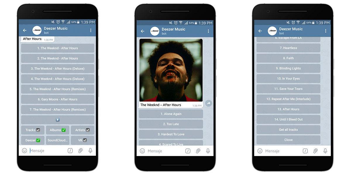 Uso de opciones de Deezer para descargar música en Telegram