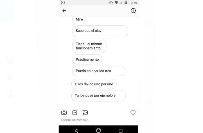 Varios mensajes en Direct Instagram