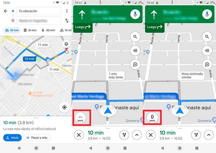 Velocidad en Google Maps
