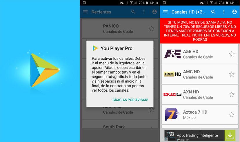Ver TV gratis en Android con YouPlayer Pro