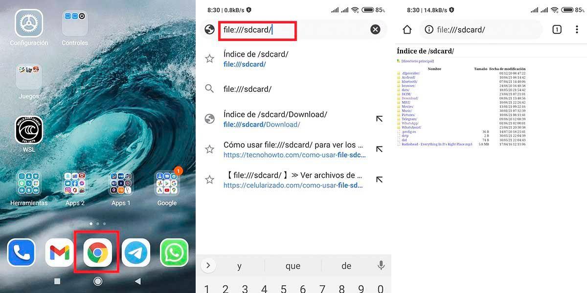 Ver archivos Android desde navegador con file sdcard cuadro abrir