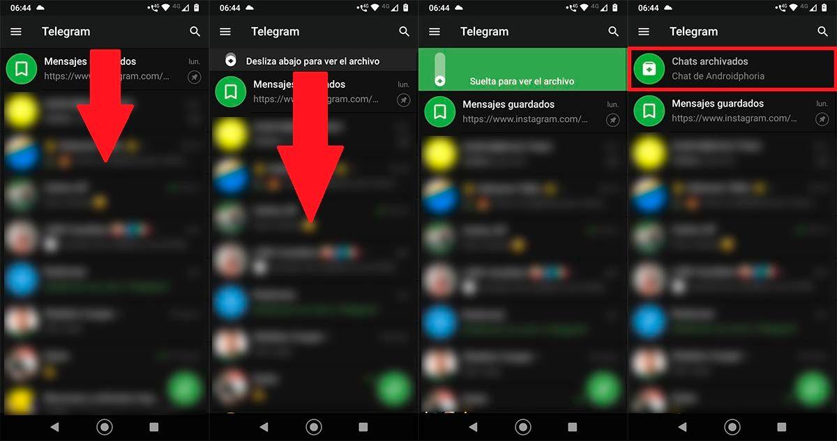 Ver chats archivados Telegram