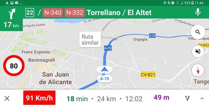 Ver limites de velocidad Google Maps