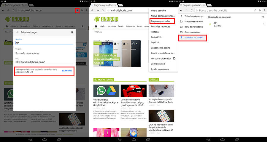Ver páginas guardadas Chrome para Android