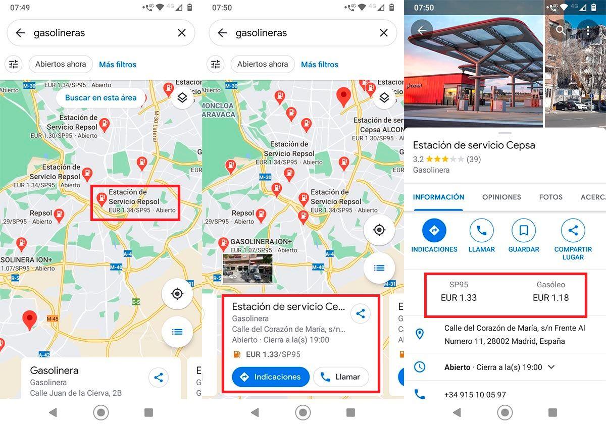Ver precio de la gasolina en Google Maps