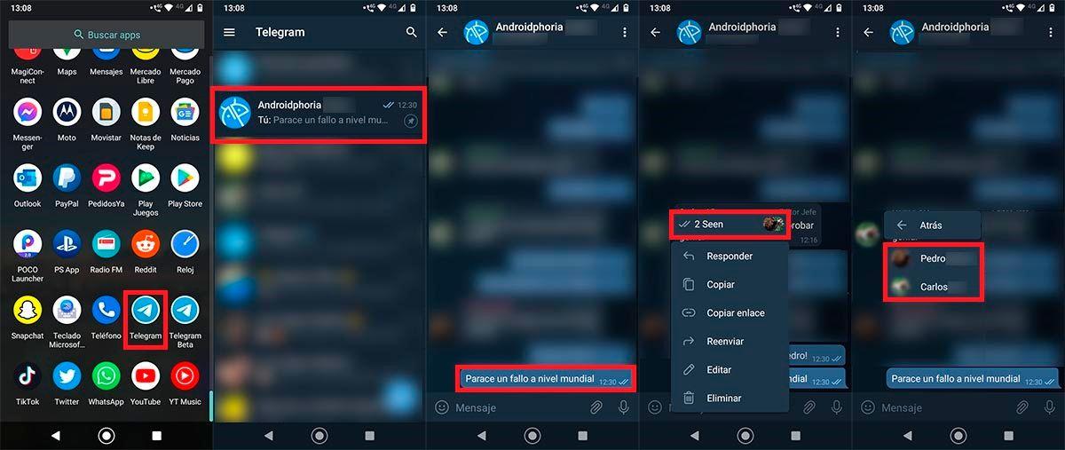 Ver quien ha leido tus mensajes en un grupo de Telegram