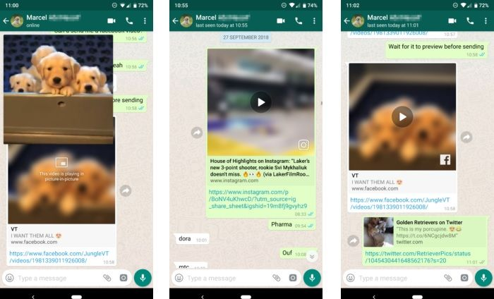 Ver vídeos de YouTube Instagram y Facebook en WhatsApp