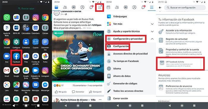 Ver y eliminar datos que apps comparten con Facebook