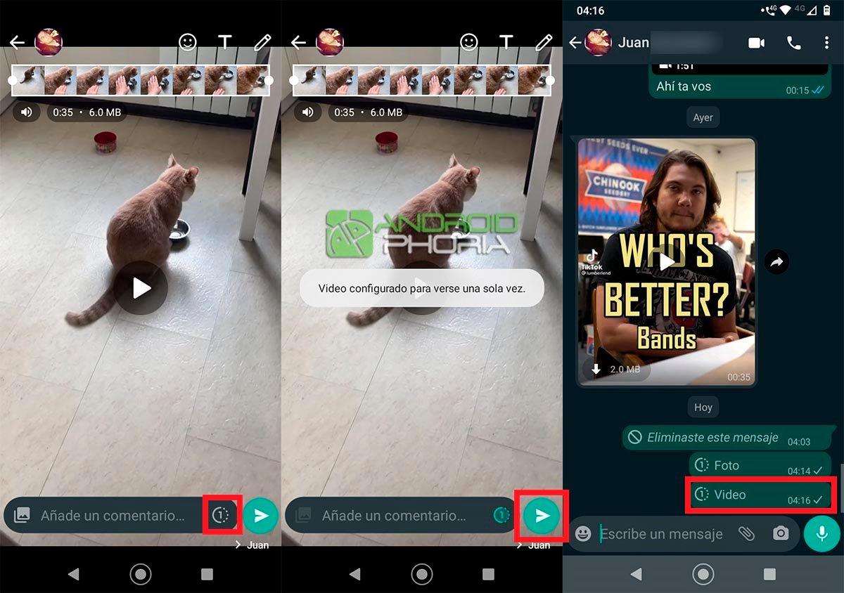 Video configurado para verse una sola vez WhatsApp