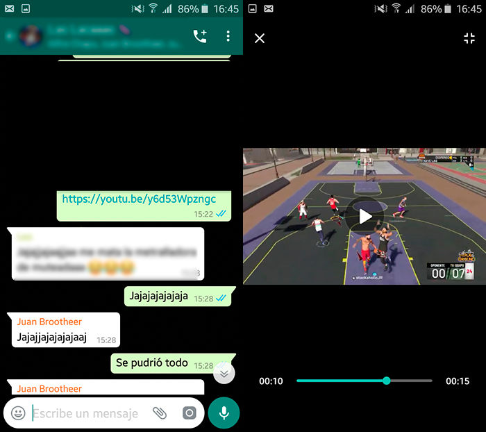 Video de YouTube en negro WhatsApp solucion