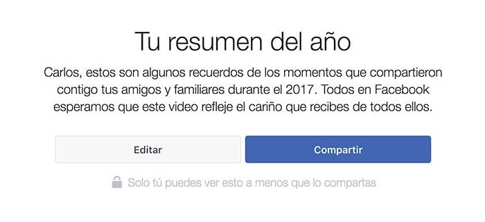 Video resumen ano Facebook 2017