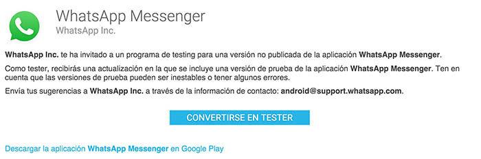 WhatsApp Beta Google Play