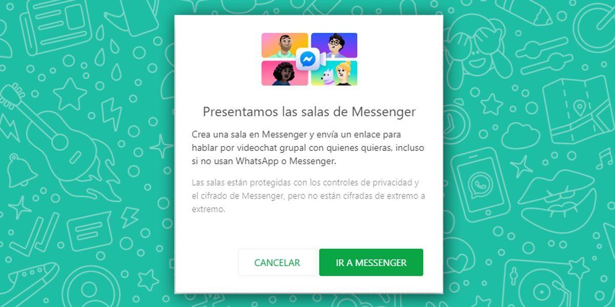 WhatsApp quitará la opción de compartir Salas de Messenger visto su fracaso
