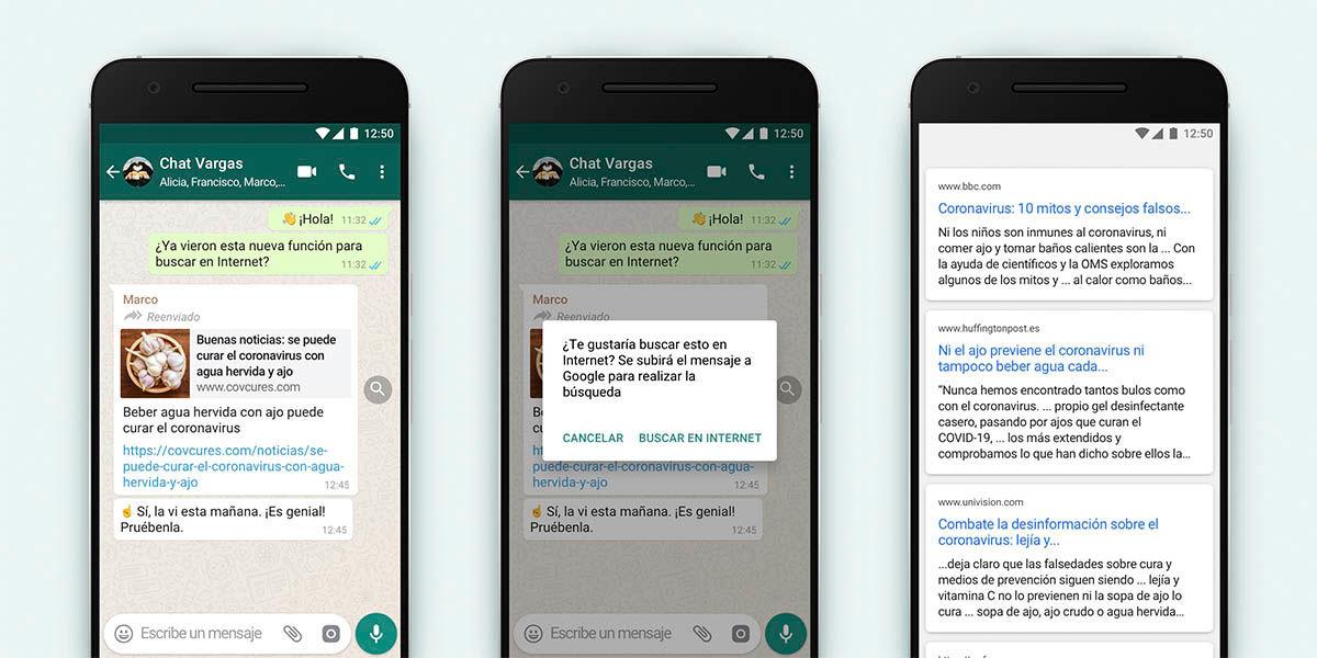 Whatsapp permite buscar los bulos en Internet